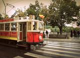 Retro red tram in Prague