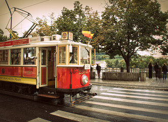 Retro red tram in Prague