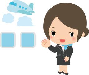 旅客機の女性乗務員