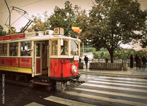 Retro red tram in Prague - 60596632