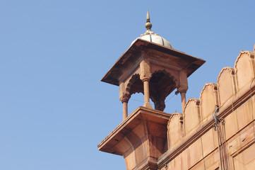 View of Jama Masjid minaret (detail).