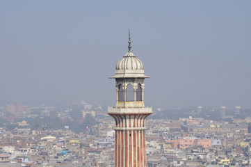 Old Delhi and minaret of Jama Masjid
