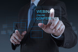 businessman hand show webinar online conference