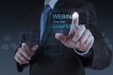 Fototapety businessman hand show webinar online conference