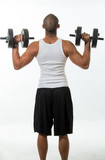 Physically fit hispanic man working out