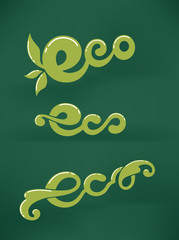 eco letters on dark green background