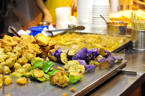 Fried vegetables at Hong Kong street food stall