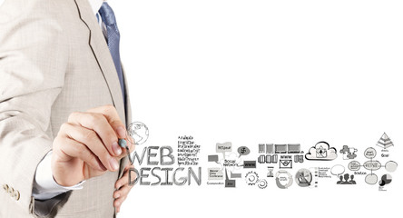 business man hand  drawing web design diagram as concept