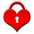 Red Heart Shape Lock - Locked
