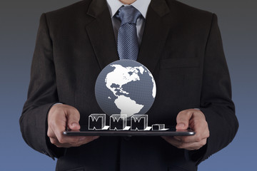 businessman hand using tablet computer and www.as internet conce