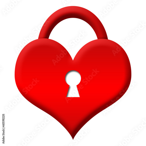 Red Heart Shape Lock - Locked