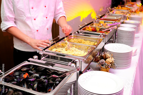 Keuken foto achterwand Buffet, Bar Food on the luxury pary