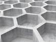 Gray concrete honeycomb structure background. 3d illustration