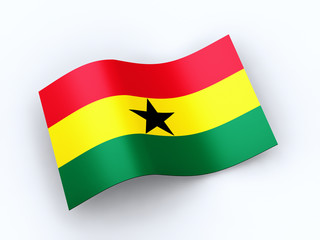 Republic of Ghana flag with clipping path