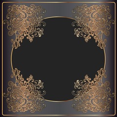 Luxury gold frame on black background