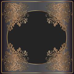 Luxury gold frame on black background