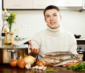 man  at home kitchen