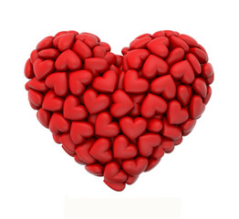 heart shaped cluster of 3d hearts