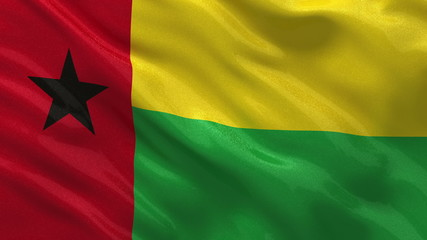 Flag of Guinea Bissau waving in the wind - seamless loop