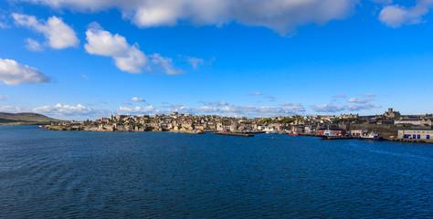 Lerwick town center under blue sky