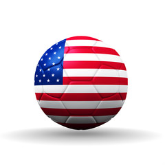 USA flag textured on soccer ball , clipping path included