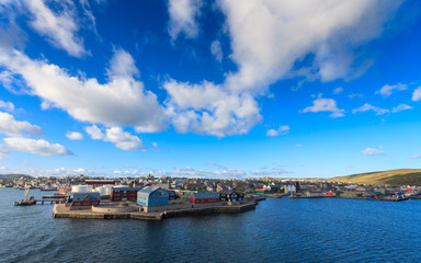 Lerwick town center under blue sky Shetland United Kingdom
