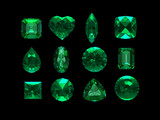 group of emerald shape with clipping path