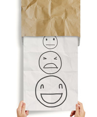 hand pull crumpled paper with customer service evaluation icon a