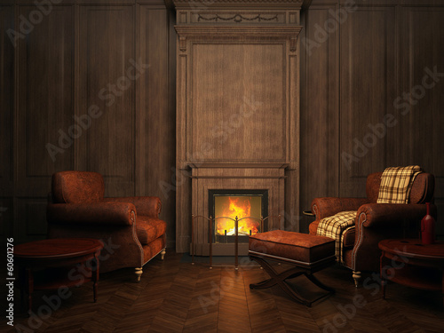 Foto op Canvas Wand armchairs and fireplace