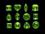 Group of peridot with clipping path