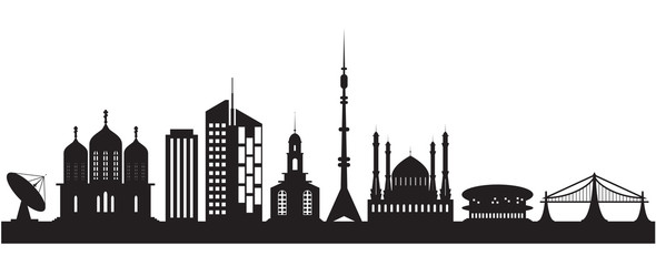 Nine urban and religious buildings. Vector illustration