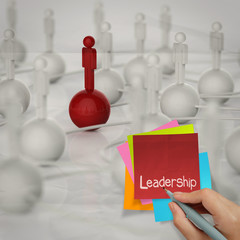 sticky note and leadership 3d human social network on crumpled p
