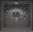 hand drawn goal of  business strategy on dark texture background