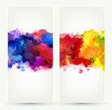 Two headers. Bright watercolor stains