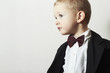 Handsome Little Boy in Black Suit.Stylish kid.fashion children