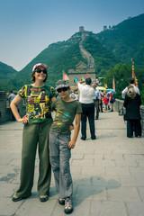 famille sur la muraille de Chine