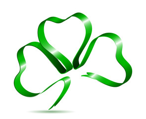 Three leaf clover shape from ribbon