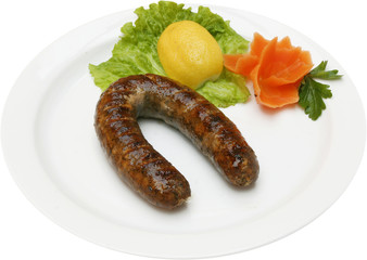 Fresh sausage grilled on a barbecue grill.