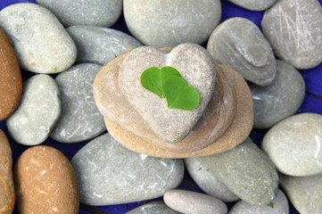 Steinherz mit Kleeblättern