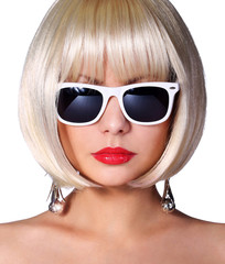 Fashion Blonde Model with Sunglasses. Glamorous young woman