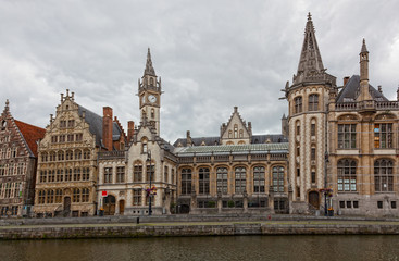 Beautiful view of historical district of Ghent, Belgium