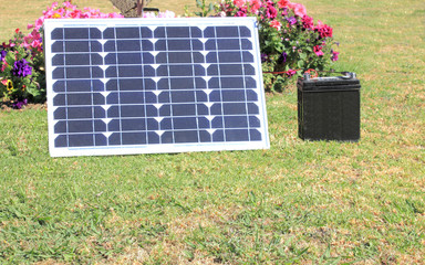 Single solar panel charging a battery