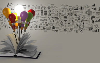 drawing idea pencil light bulb and open book business strategy a