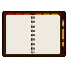 Agenda aufgeschlagen mit Bleistift