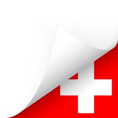 Papier - Ecke unten - Länderflagge Schweiz