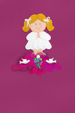Blonde girl First Communion greeting card