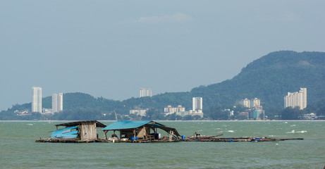 Floating fisherman's hut near Penang National Park