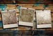 polaroid vintage sfondo legno