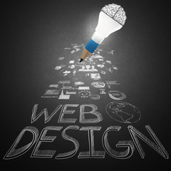 creative design hand drawn web icon as pencil lightbulb brain 3d