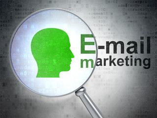 Advertising concept: Head and E-mail Marketing with optical